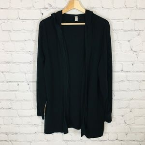 OLD NAVY Black Hooded Tunic Cardigan Open Front